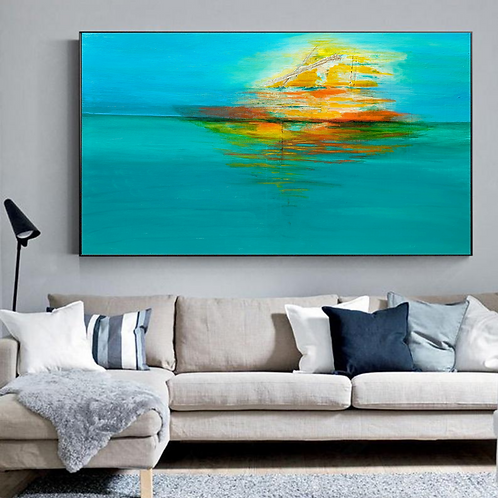 """""""Floating"""" Large abstract acrylic painting in blue, green, turquoise, orange"""