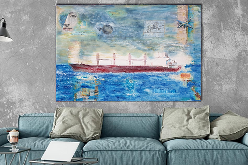 Extra large mixed media abstract painting