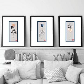 Set of 3 fine art giclee prints in original Hahnemühle fine art paper