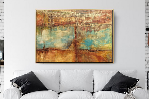 Extra large abstract painting in turquoise, ochre & gold colors highly textured