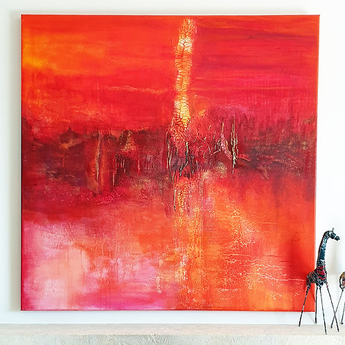 Large abstract acrylic painting deep red, orange and gold, highly textured