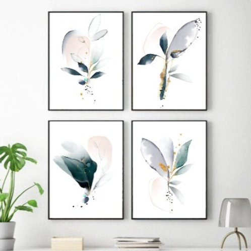 """""""Morning Glory""""  Set of 4 fine art giclee prints of  abstract watercolor flowers"""