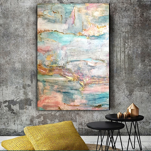Large abstract acrylic painting in blue, pink and gold colors highly textured