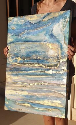 original painting blue gold large