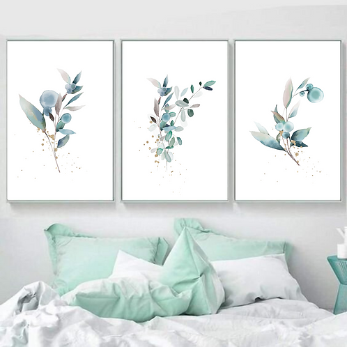 """""""Touch of gold"""" Set of 3 fine art giclee prints of pastel watercolor plants in"""
