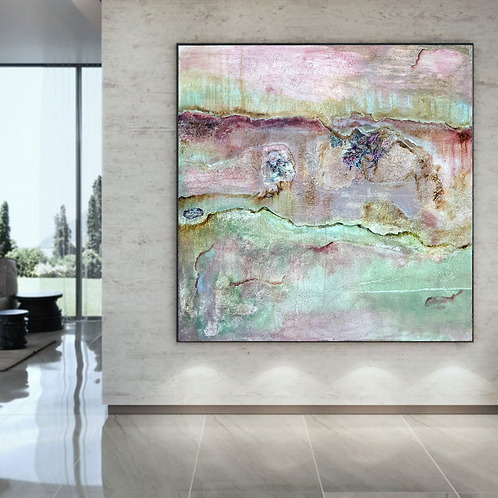 """""""Once upon a time"""" Extra large abstract mixed media acrylic painting"""