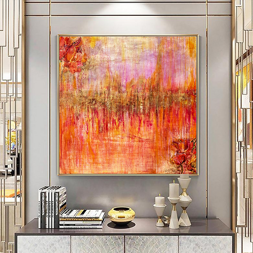 Large abstract acrylic painting deep red, purple and gold, highly textured