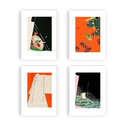 """Kimonos""  Set of 4 fine art giclee prints of vintage Japanese illustrations"