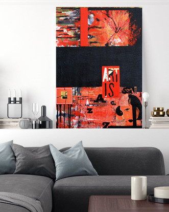 Oil mixed media painting 70x100 cm. Sold