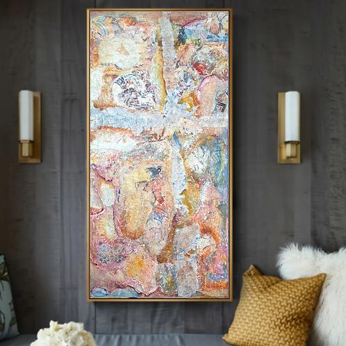 """Akrotiri"" Large abstract painting of Akrotiri frescoes, Santorini"