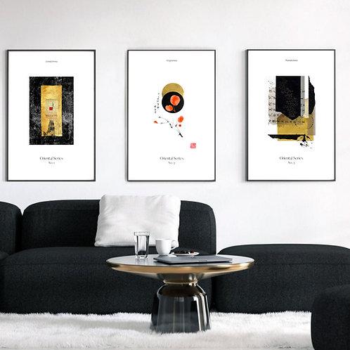 set of 3 three fine art prints giclee prints japanese design japandi asian art large wall art above couch decor