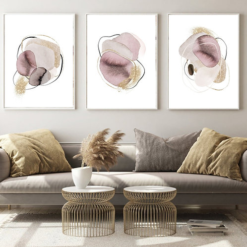 """""""Pebbles""""Set of 3 fine art giclee prints of watercolor abstract pebbles"""