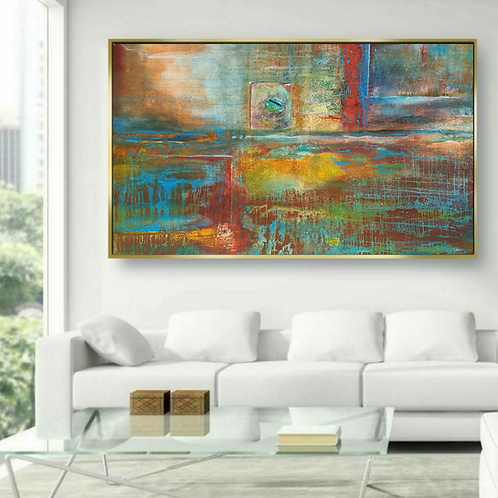 """""""Navaghio"""" Oversized abstract mixed media acrylic contemporary painting"""