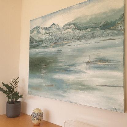Large acrylic painting 100x120 cm. Available