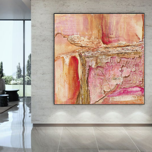 Large abstract acrylic painting fuscia, ochre and gold, highly textured