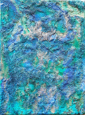 Highly textured mixed media painting. SOLD