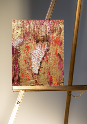 Original abstract gold pallette knife painting on canvas, small size
