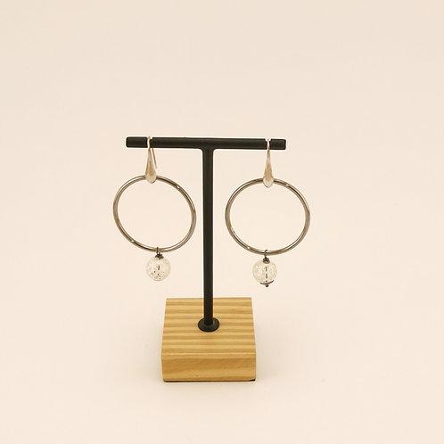 Ohrring mit Ring & filigraner Silberkugel