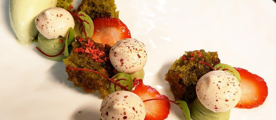 Pistachio, rose and summer strawberries dessert recipe