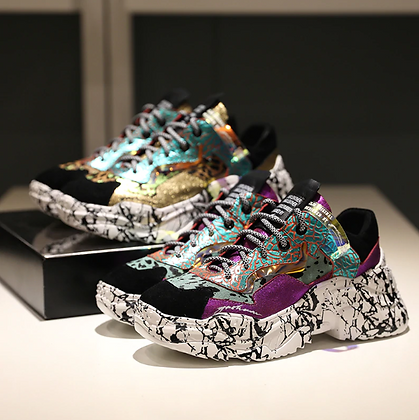 Sneakers Multi à plateformes Crazy Cuir véritable HQ