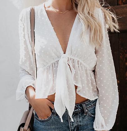 Blouse blanche à pois à nouer Dolly chemise été décontractée mode femme 2019 soldes promos festigals