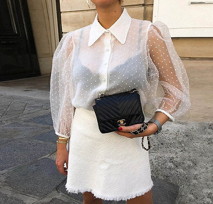 Lyna Polka Dot White Short Shirt