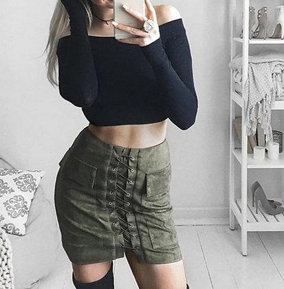 Jupe Khaki Lacée Taille Haute en Daim