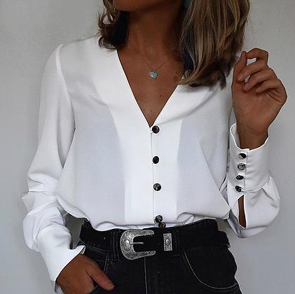 Blouse blanche élégante boutons noirs asos urban outfitters zara promos soldes festigals 2019