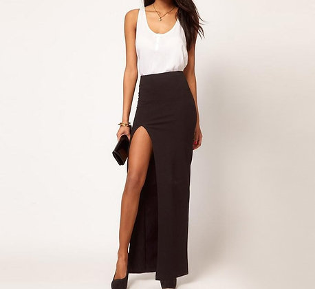 Longue Jupe Noire Fendue Taille Haute
