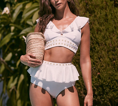 Maillot de bain côtelé Costa Brava taille haute festigals vinted bikini asos zara undiz etam soldes 2020