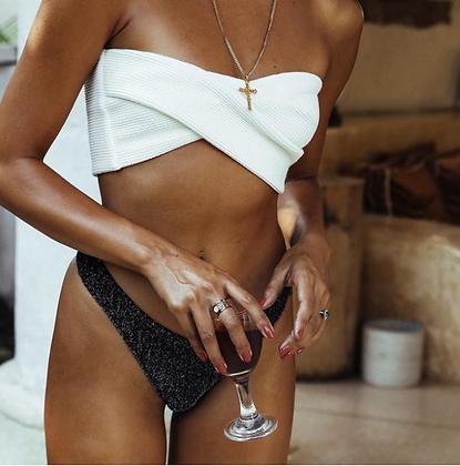 Maillot de bain Bandeau côtelé Bas gris pailleté chic bikini pas cher 2019 asos festigals