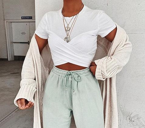 T-shirt court croisé Blanc Kaji