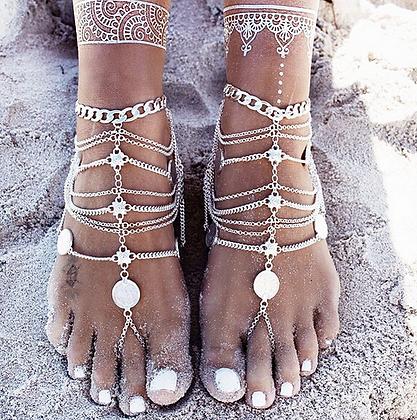 Bracelet de Chevilles Ethnique argenté bijoux Coachella 2019