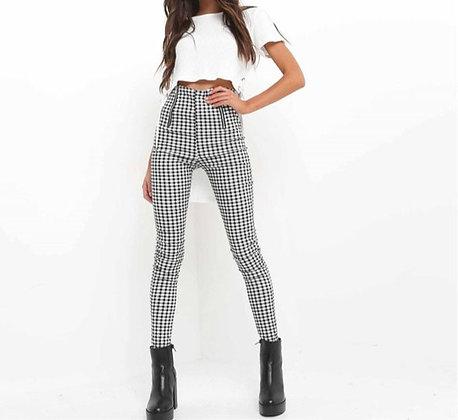 Pantalon Slim à Carreaux Taille Haute