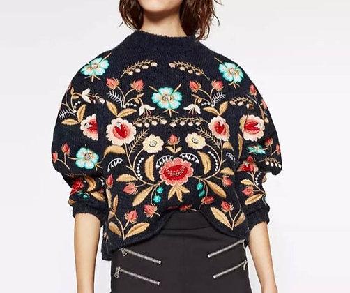 Pullover Noir Oversize Brodé Roses Lovers