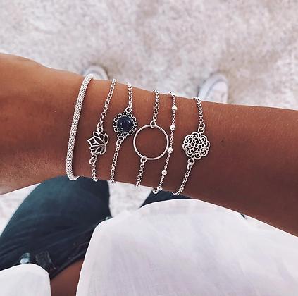 Lot de 6 Bracelets Argentés Lotus Bijoux silver jewelry 2019 diwii asos soldes promos