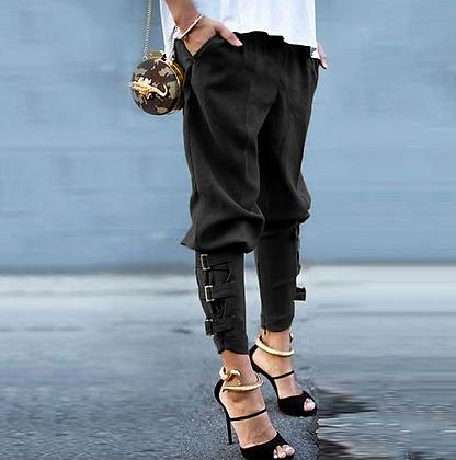 Pantalon Noir Sarouel Détails Chevilles