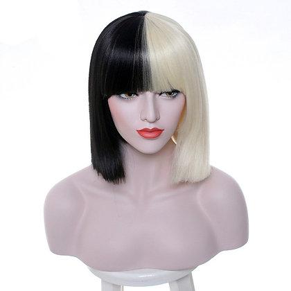 Perruque Carré Sia Blond & Noir 38cm