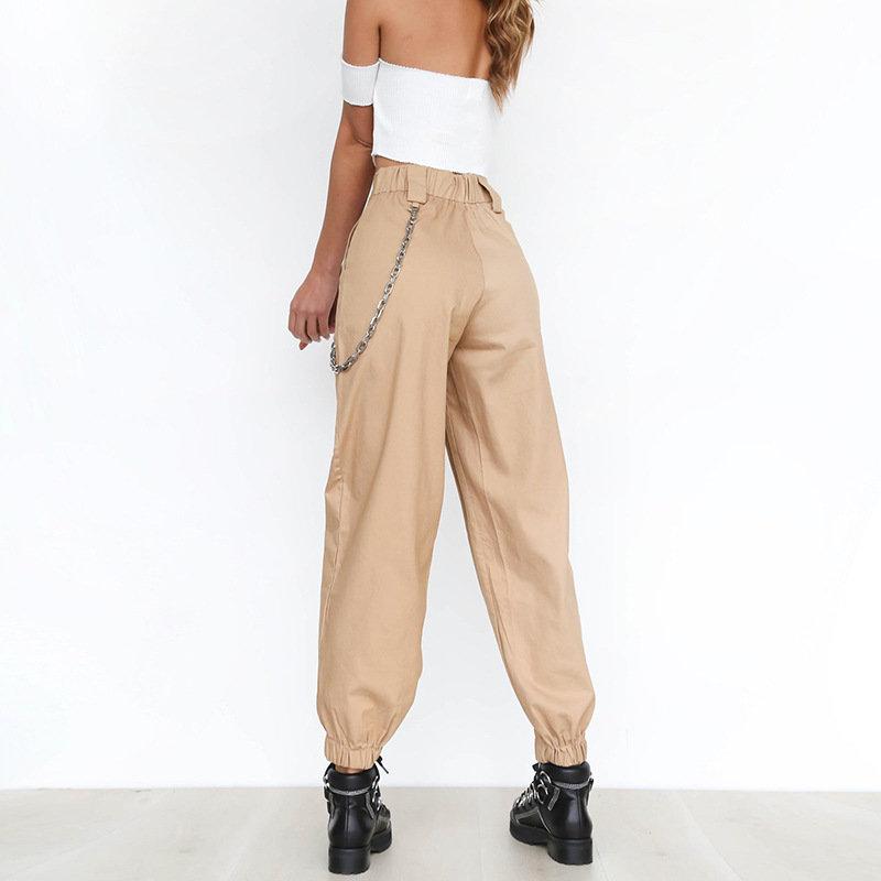 regarder plusieurs couleurs la moitié Pantalon Cargo Taille haute avec Chaîne
