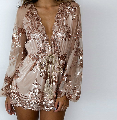 Combishort en Sequins Rose Pâle Luxe missguided boohoo party outfit festigals.fr