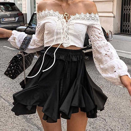 Jupe taille haute noire dupe storets @jodielapetitefrenchie storets high waist ruffles skirt Jodie festigals zara asos mango