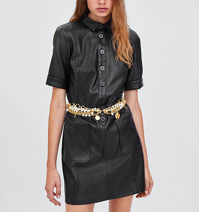 Robe Noire Imitation Cuir