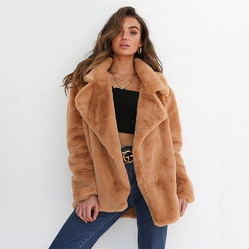 601435b80c ... Manteau Oversize Fausse Fourrure Teddy Coat Fake Fur Plush So sweet  2019 festigals manteaux pas cher