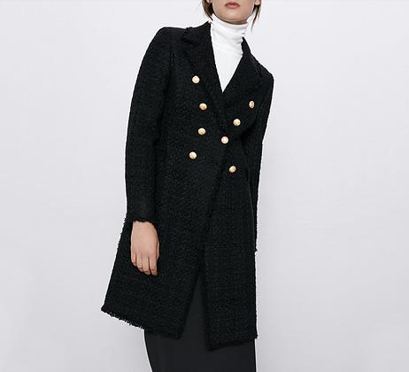 Manteau mi-long noir avec boutons dorés