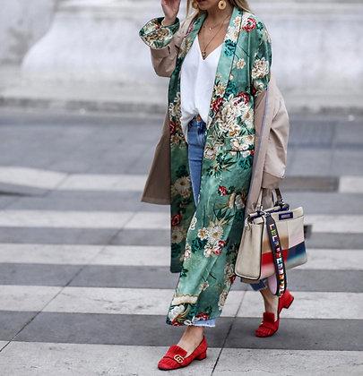 Blouse Maxi Kimono Fleuri Mint