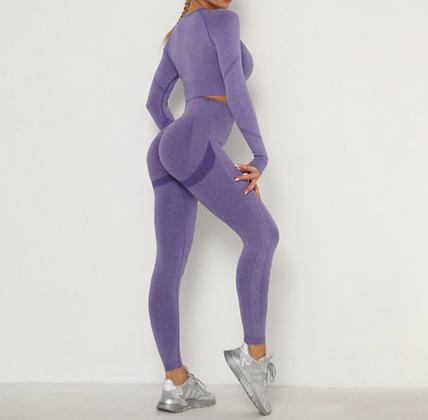 Workout - Ensemble Top et Legging Push-up - Violet