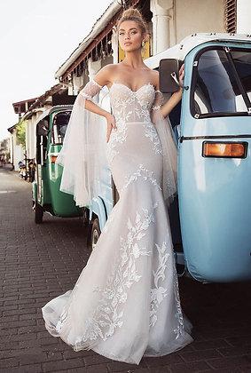 Robe de mariée Brodée Perfect Bride 2019  robe sirène manches bustier dentelle luxe pas cher vinted