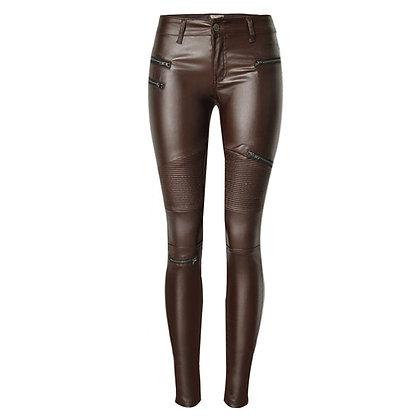 Pantalon en Cuir Biker Rock - Marron