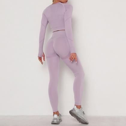 Workout - Ensemble Top et Legging Push-up - Lilas ocean's apart festigals haltère decathlon fitness musculation gym direct