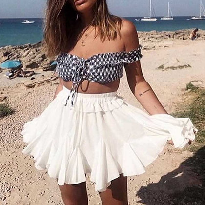 Jodie Pleated skirt white high waist